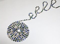 Цепь со стразами Swarovski, цвета Emerald, Capri Blue, Montana, Crystal, Black Diamond pp24 (3.00-3.20 mm), в серебристой оправе, 10 см